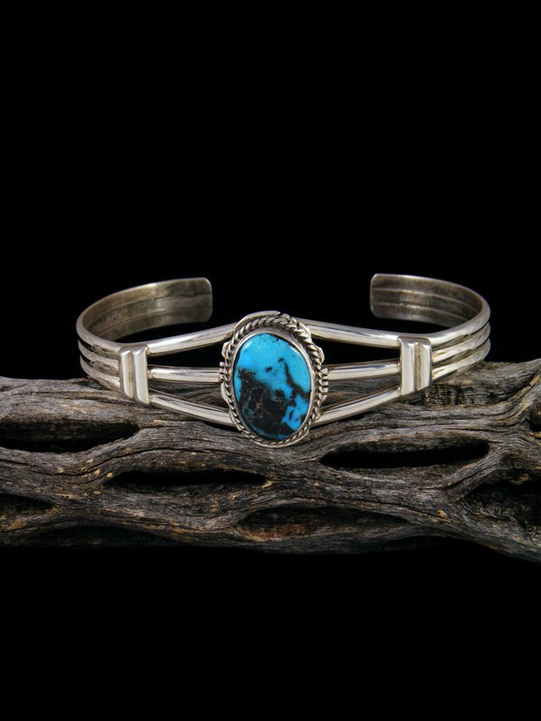 Apache Blue Turquoise Sterling Silver Cuff Bracelet