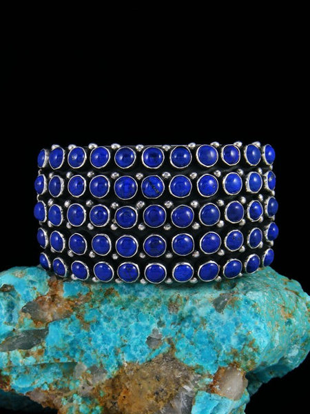 Native American Sterling Silver Lapis Row Cuff Bracelet