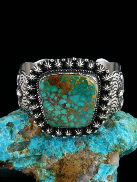 Native American Natural Royston Turquoise Star Burst Cuff Bracelet