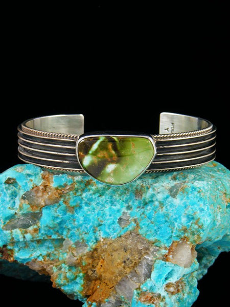 Native American Sterling Silver and Royston Turquoise Cuff Bracelet
