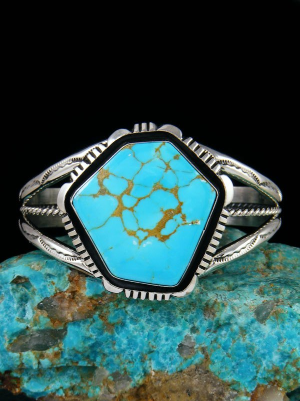 Native American Turquoise Sterling Silver Cuff Bracelet