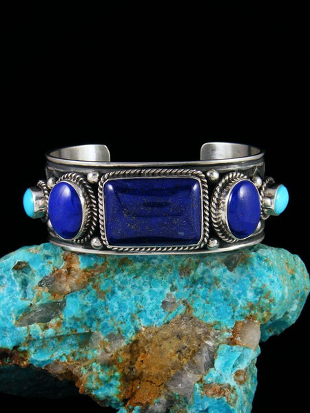 Native American Indian Jewelry Sterling Silver Lapis and Turquoise Bracelet