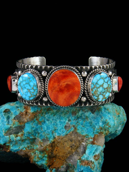 Native American Jewelry Sterling Silver Spiny Oyster and Turquoise Bracelet