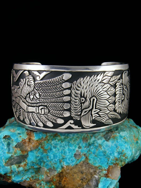 Native American Sterling Silver Eagle Overlay Bracelet