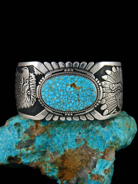 Native American Sterling Silver Kingman Turquoise Eagle Overlay Bracelet