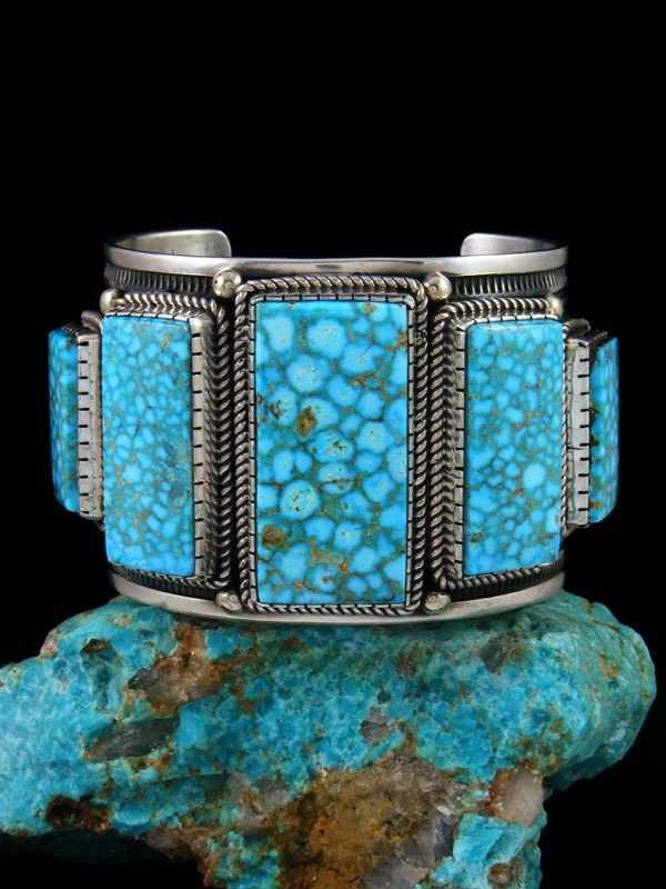 Large Native American Indian Jewelry Sterling Silver Kingman Turquoise Bracelet