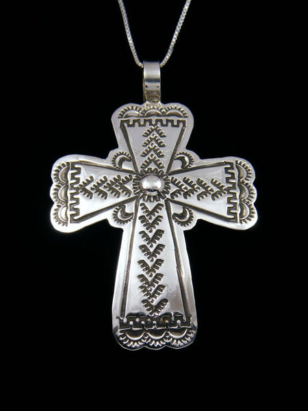 Sterling Silver Navajo Stamped Cross Pendant
