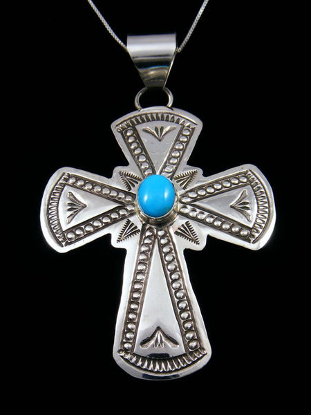 Sterling Silver Turquoise Navajo Stamped Cross Pendant