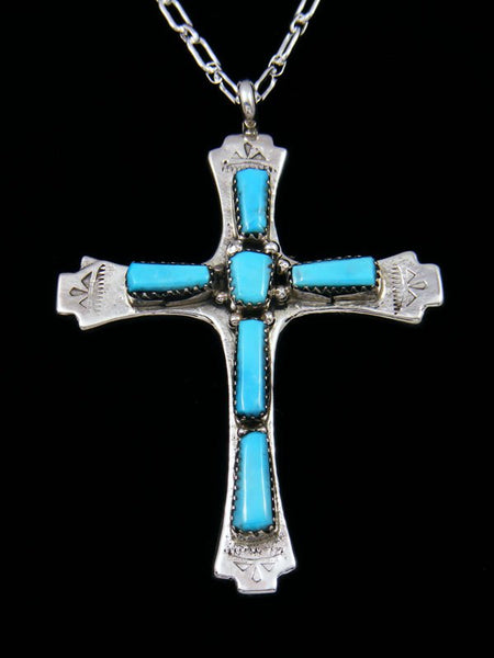 Sterling Silver Zuni Turquoise Cross Pendant