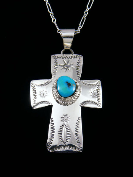 Native American Indian Jewelry Sleeping Beauty Turquoise Cross Pendant