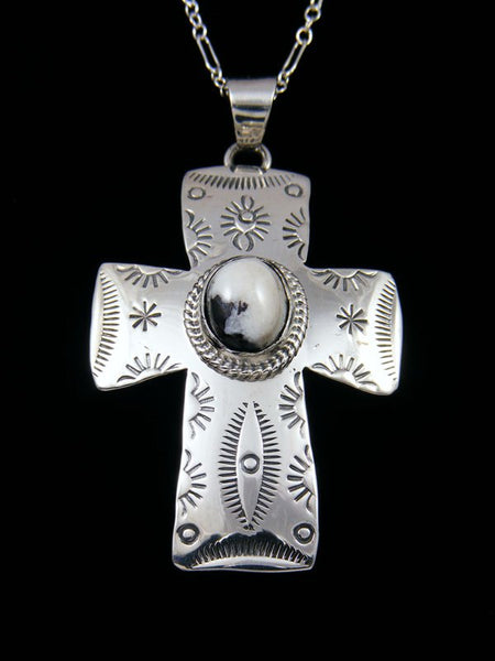 Native American Indian Jewelry White Buffalo Cross Pendant