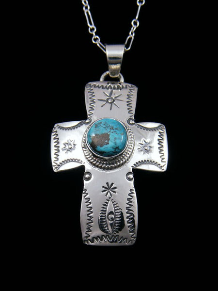 Native American Indian Jewelry Dry Creek Turquoise Cross Pendant