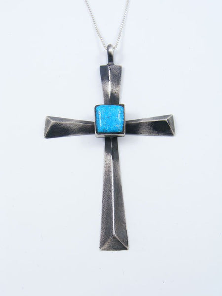 Sterling Silver Turquoise Navajo Sandcast Cross Pendant