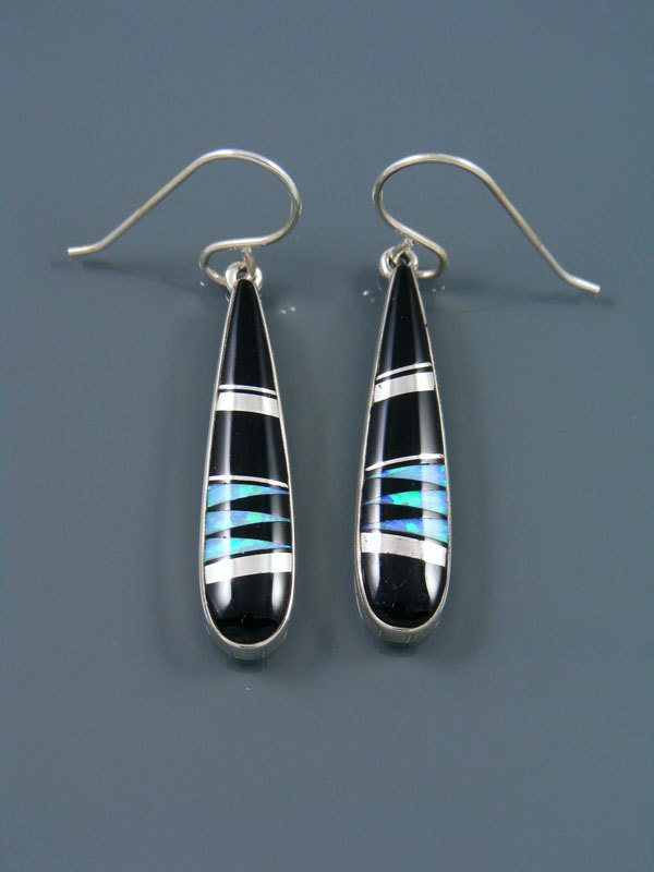Native American Sterling Silver Onyx Dangle Earrings
