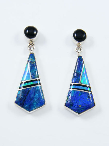 Native American Sterling Silver Chrysocolla Inlay Post Earrings
