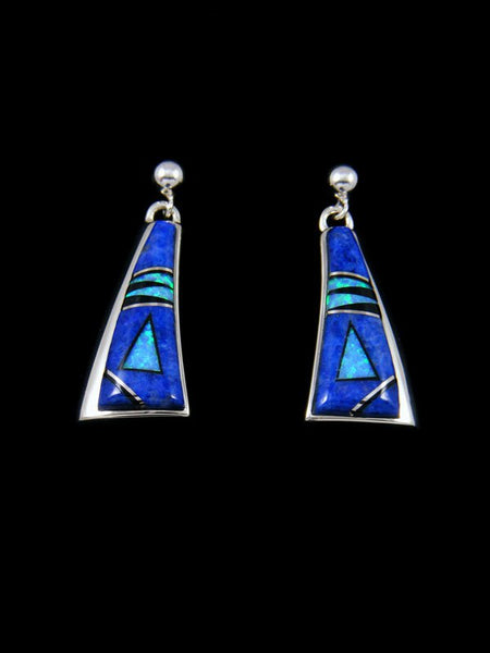 Native American Inlay Lapis and Opalite Post Earrings