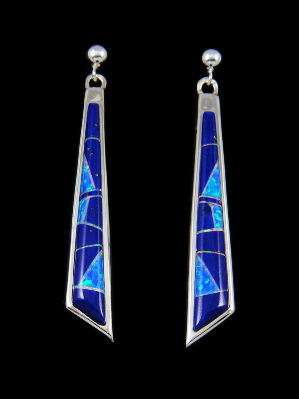 Native American Inlay Lapis and Opalite Earrings