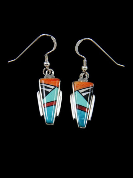 Native American Spiny Oyster Inlay Dangle Earrings