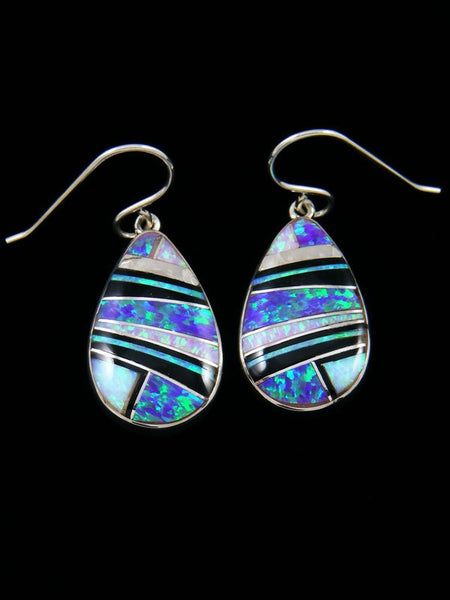 Native American Sterling Silver Opalite Dangle Inlay Earrings