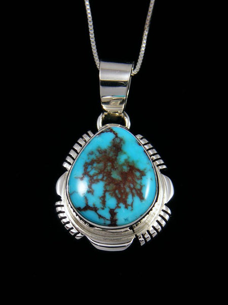 Native American Sterling Silver Egyptian Turquoise Pendant