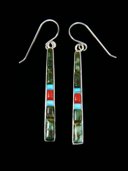 Cobblestone Turquoise and Coral Inlay Dangle Earrings