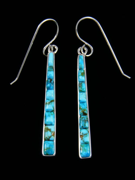 Cobblestone Kingman Turquoise Inlay Dangle Earrings