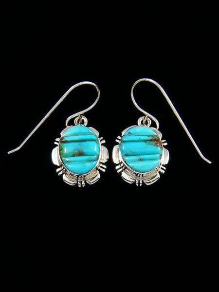 Native American Sterling Silver Cobblestone Inlay Turquoise Dangle Earrings