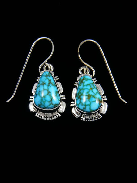 Native American Sterling Silver Kingman Turquoise Dangle Earrings
