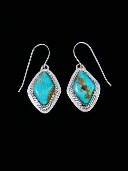 Navajo Turquoise Mountain Sterling Silver Dangle Earrings