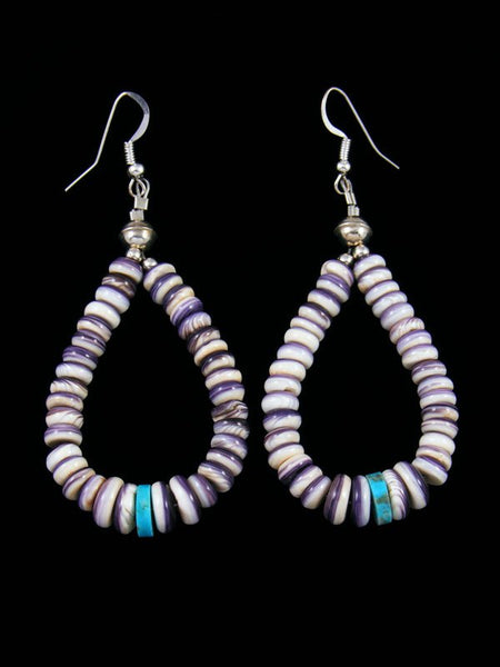 Navajo Sterling Silver Purple Wampum Dangle Earrings