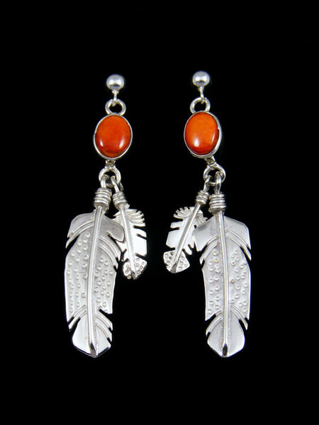 Spiny Oyster Sterling Silver Feather Earrings