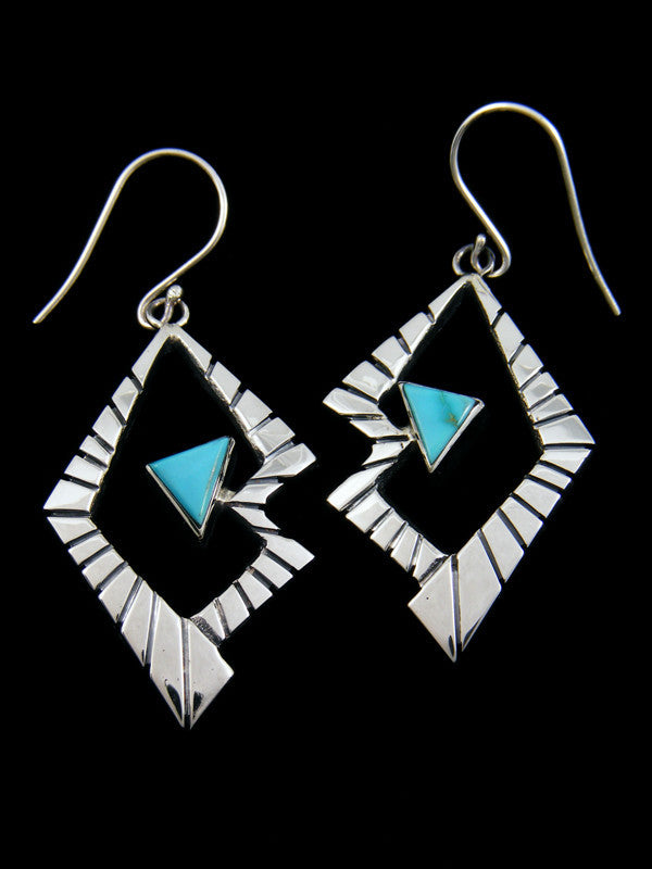 Sterling Silver Cloud Mountain Turquoise Dangle Earrings