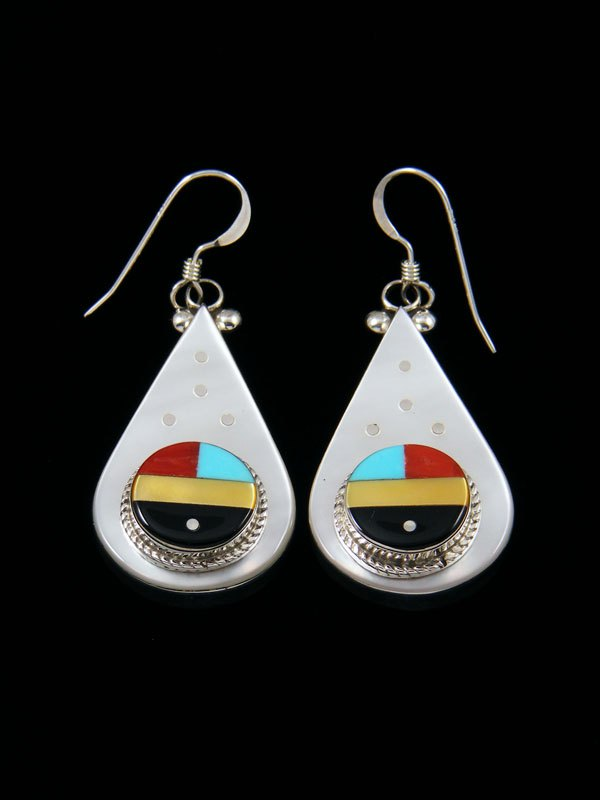 Zuni Mother of Pearl and Coral Inlay Dangle Earrings