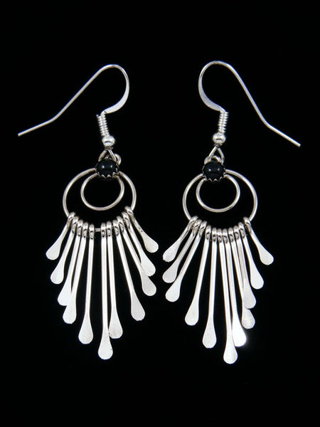 Navajo Sterling Silver Onyx Waterfall Dangle Earrings