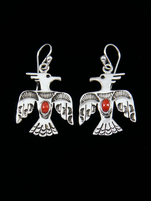 Navajo Sterling Silver Coral Thunderbird Dangle Earrings