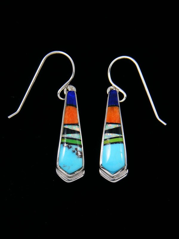 Spiny Oyster and Turquoise Navajo Inlay Dangle Earrings