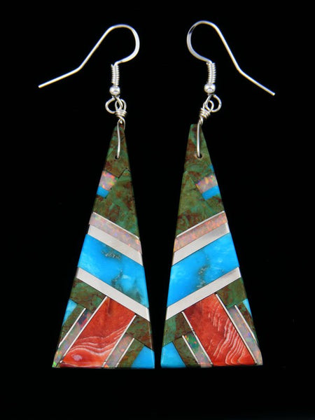 Santo Domingo Inlay Turquoise And Spiny Oyster Dangle Earrings