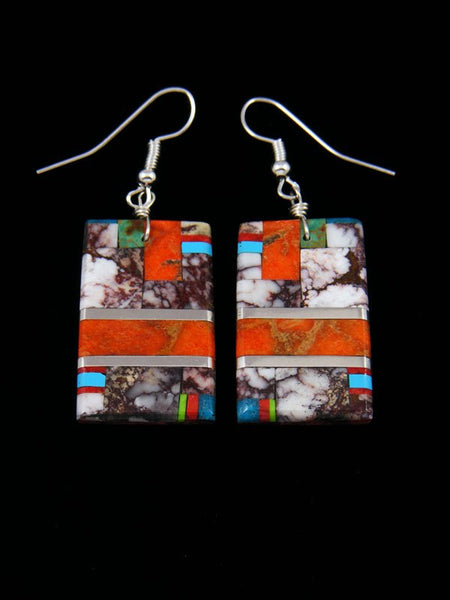 Santo Domingo Inlay wild Horse Mosaic Dangle Earrings