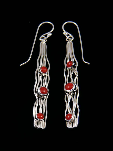 Native American Sterling Silver Coral Dangle Earrings