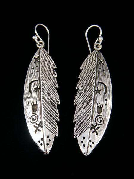 Navajo Sterling Silver Petroglyph Dangle Feather Earrings