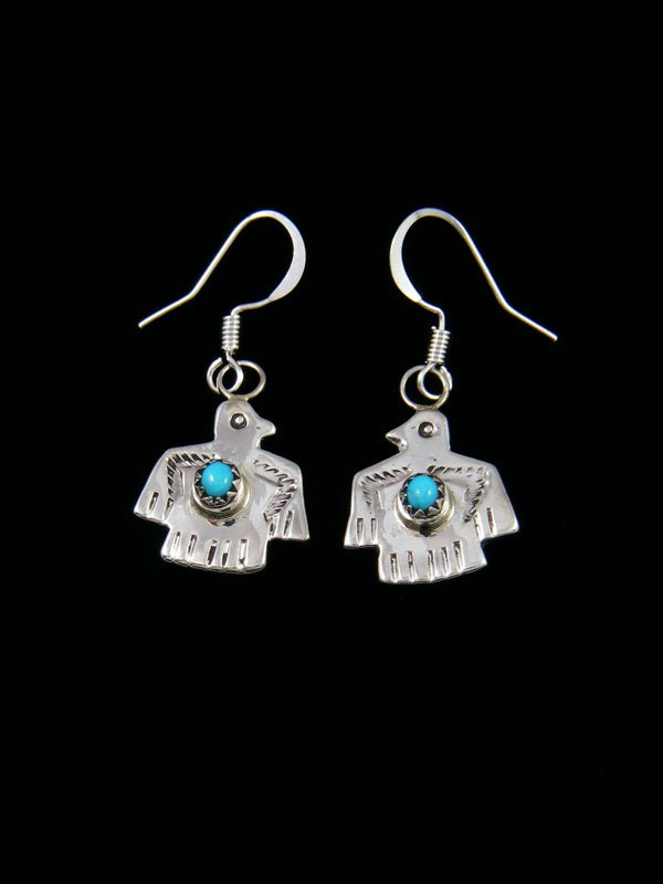 Navajo Turquoise Thunderbird Sterling Silver Dangle Earrings
