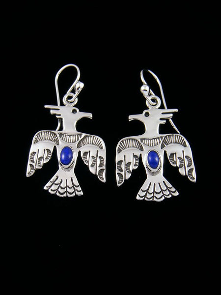Navajo Lapis Sterling Silver Dangle Thunderbird Earrings
