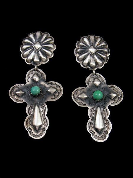 Sterling Silver Navajo Cross Turquoise Post Earrings