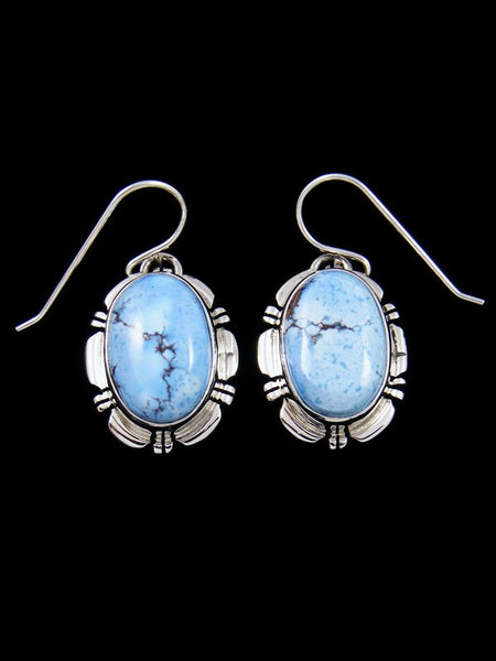 Navajo Sterling Silver Golden Hill Turquoise Dangle Earrings