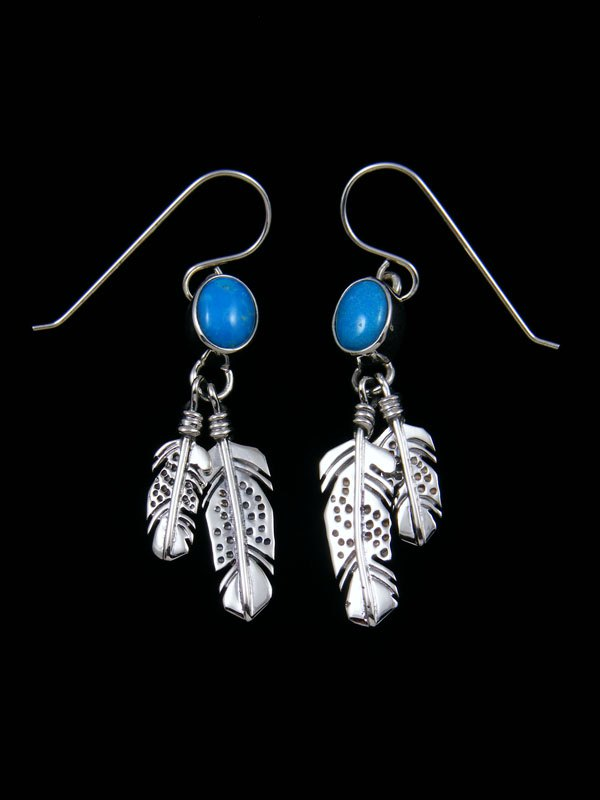 Navajo Sterling Silver and Turquoise Feather Earrings