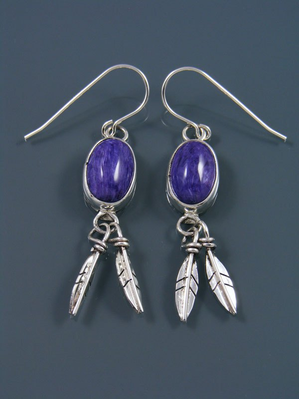 Navajo Charoite Sterling Silver Feather Earrings