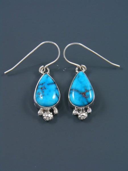 Native American Sonoran Gold Turquoise Sterling Silver Dangle Earrings