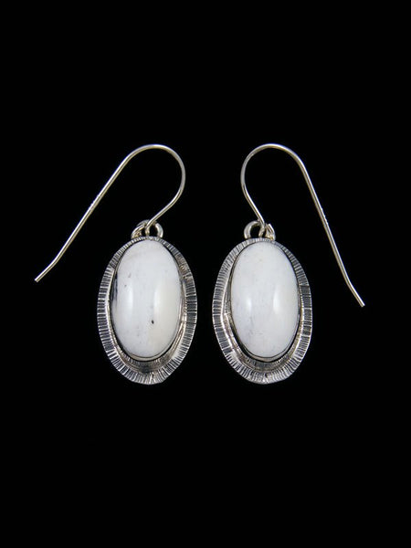 Navajo Sterling Silver White Buffalo Dangle Earrings