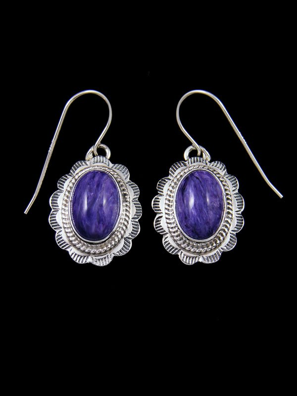 Navajo Charoite Sterling Silver Earrings