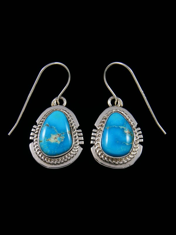 Sterling Silver Navajo Arizona South Hill Turquoise Dangle Earrings